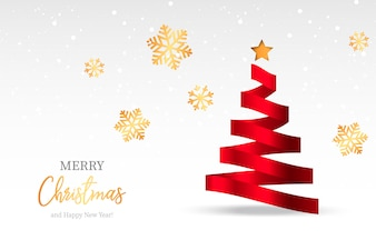elegant christmas background with abstract tree