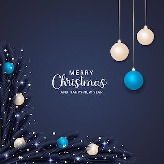 분기 크리스마스 공 눈과 크리스마스 조명 우아한 크리스마스 배경