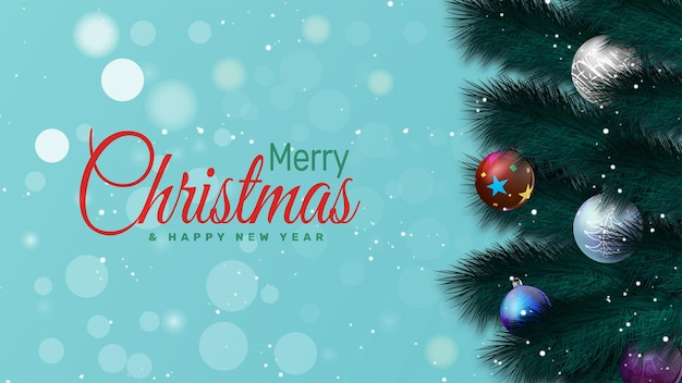 Elegant christmas background with branches and christmas balls