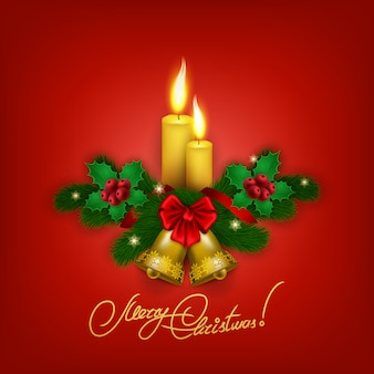 Elegant christmas background with candles and bells
