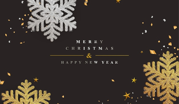 Элегантный новогодний фон с украшением снежинок золотой блеск