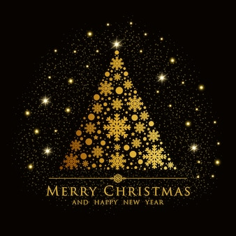 Elegant christmas background with gold tree.