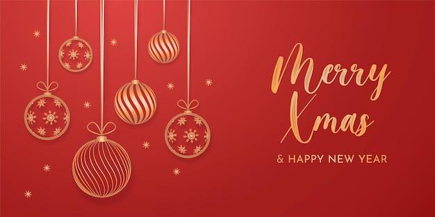 金色の装飾が施されたエレガントなクリスマスの背景