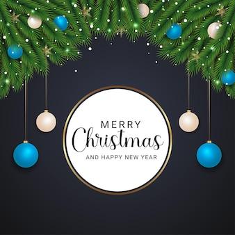 녹색 분기 황금 눈송이 크리스마스 공 조명과 검은 배경으로 우아한 크리스마스 배경