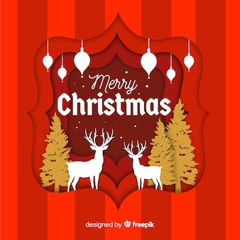 Elegant christmas background with paper style
