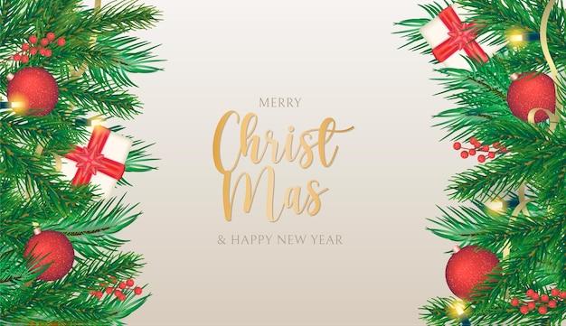 リアルな装飾が施されたエレガントなクリスマスの背景