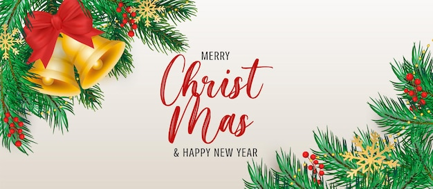 Elegante sfondo natalizio con decorazioni realistiche