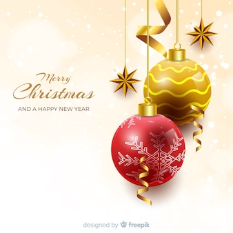 Elegant christmas background with realistic design