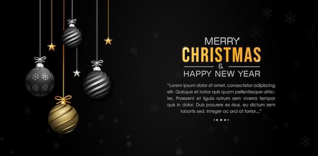 Elegant christmas background with shining balls