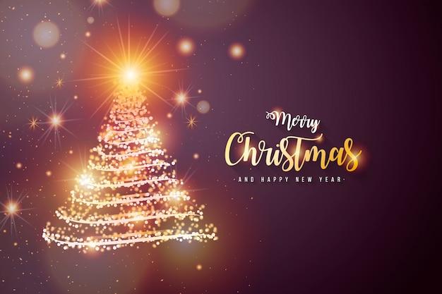 光沢のあるツリーとエレガントなクリスマス背景