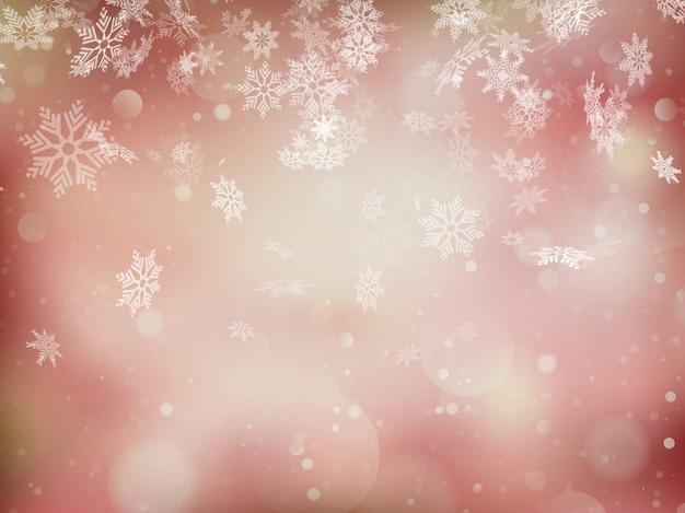 エレガントなクリスマスの背景に雪、テキストのための場所。