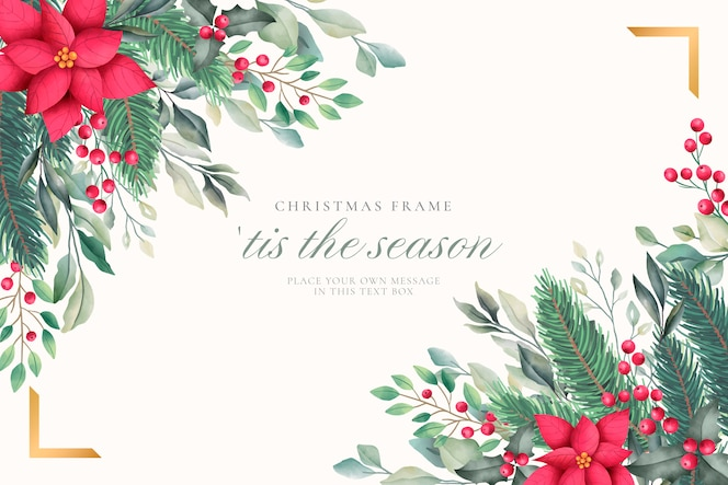 Elegant christmas background with watercolor nature