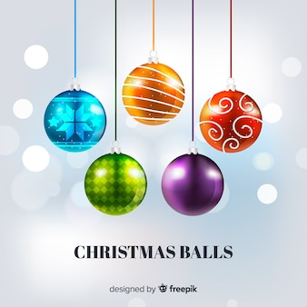 Elegant christmas ball collection with realistic design