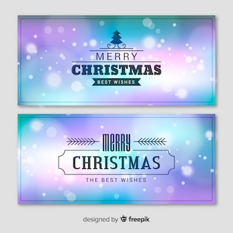 Elegant christmas banner set with blurry background