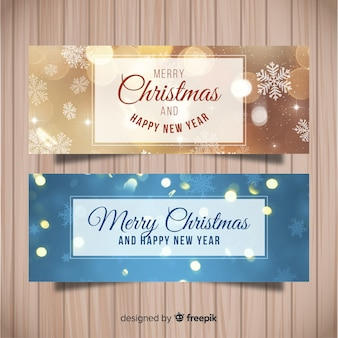 Elegant christmas banner set with snowflakes
