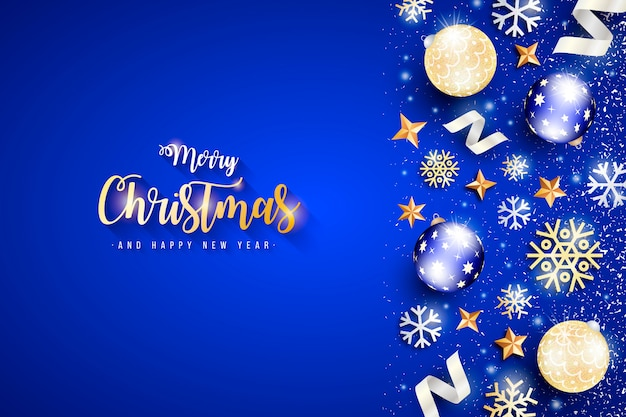 Elegant christmas banner with blue background