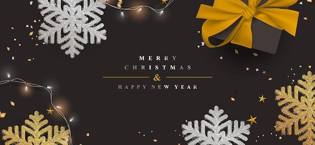 Элегантный рождественский баннер с золотым блеском снежинки