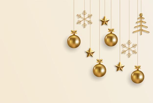 Elegant christmas banner with golden elements