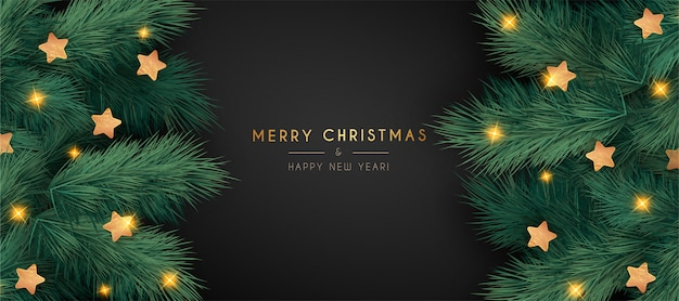 Elegant christmas banner with realistic branches