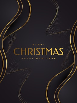 Elegant christmas card in black and gold. merry christmas and happy new year greeting or invitation card