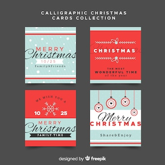 Elegant christmas card collection with vintage style