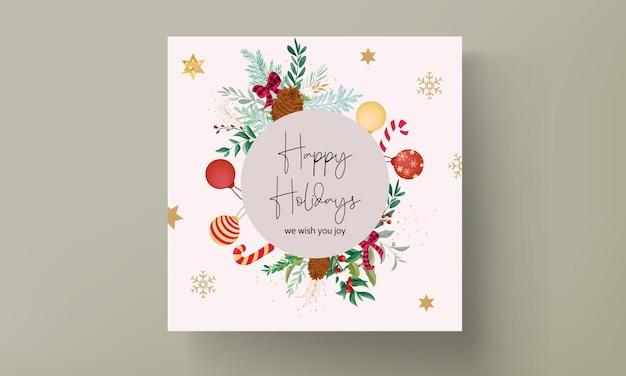 Элегантный дизайн рождественской открытки с рождественскими украшениями и красивыми листьями