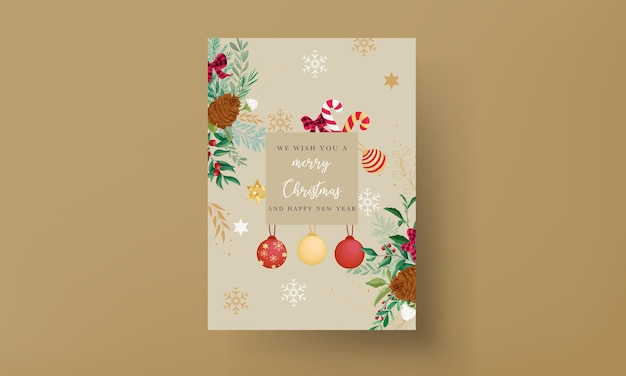Elegant christmas card design with christmas ornaments and beautiful leaves