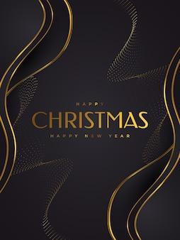 Элегантная рождественская открытка в черном и золотом. поздравление или пригласительная открытка с рождеством и новым годом