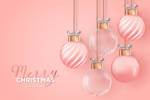 Elegant christmas card with realistic pink christmas balls