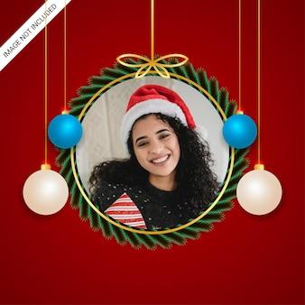 Elegant christmas classic photo freme golden border golden ribbon  ehite and sky blue balls