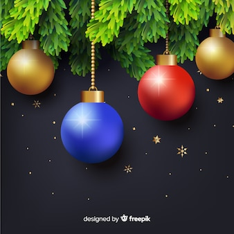 Elegant christmas composition with realistic design