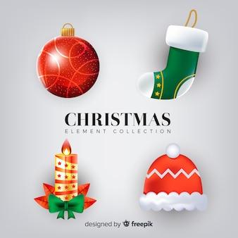 現実的なデザインのエレガントなクリスマスエレメントコレクション