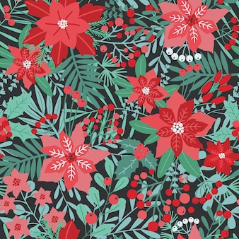 Elegant christmas festive seamless pattern with green and red traditional holiday natural decorations - flowers, berries, leaves, fir needles