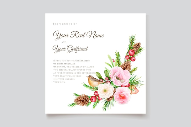 Elegant christmas floral and leaves background