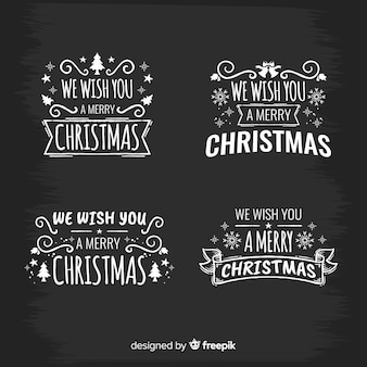 Elegant christmas labels with blackboard style