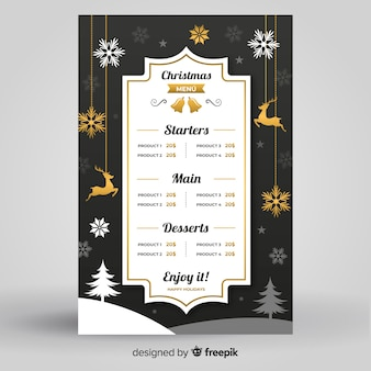 Elegant christmas menu template flat design style