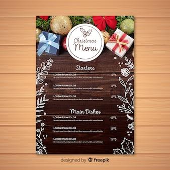 Elegant christmas menu template with photo