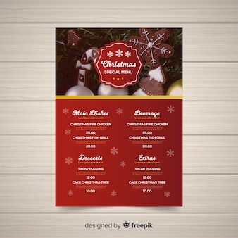 Elegant christmas menu template with photo