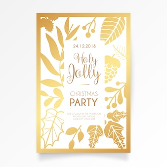 Elegant Christmas Party Card Invitation