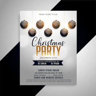 Elegant christmas party flyer design template