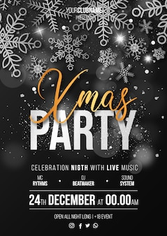 Elegant Christmas Party Poster Ready to Print