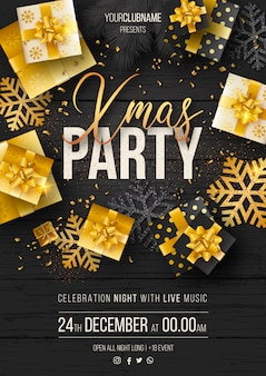 Elegant christmas party poster template with luxury gifts