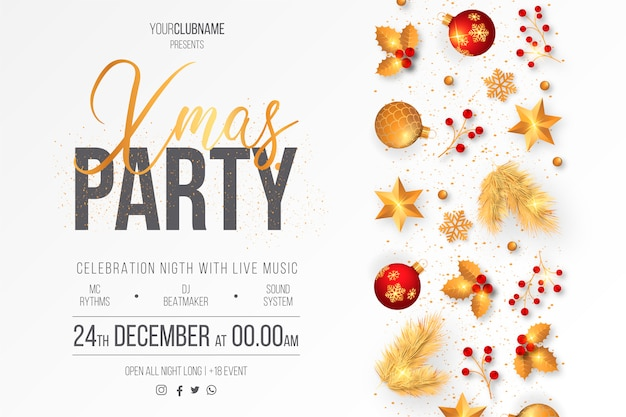 Elegant christmas party poster template