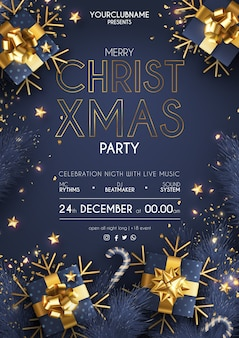 Elegant christmas party poster with realistic gifts
