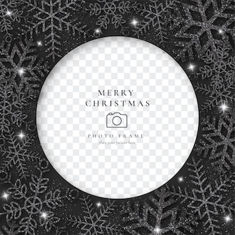 Elegant christmas photo frame with black snowflakes