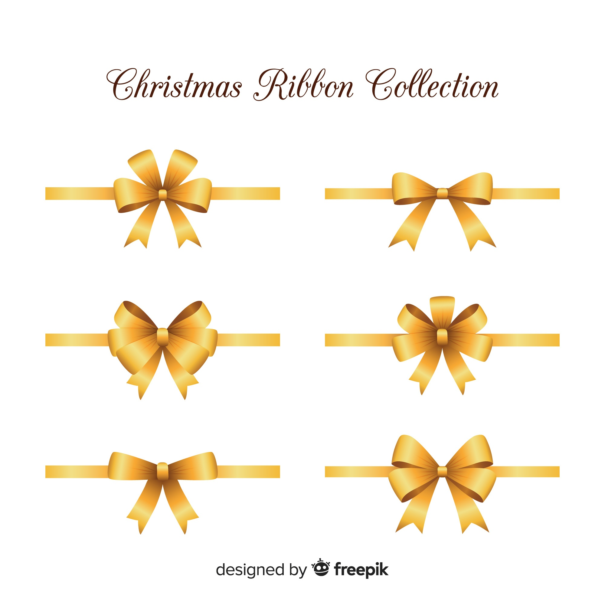 Elegant christmas ribbons with realistic design