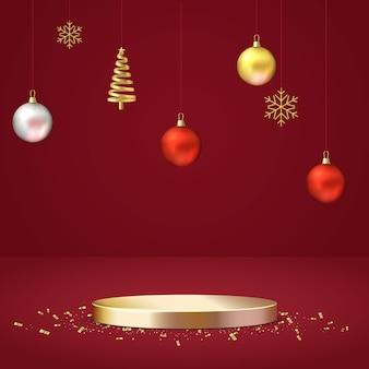 우아한 크리스마스 장면. 쇼 제품 전시를위한 연단 모양. 무대 받침대 또는 플랫폼. 현실적인 3d