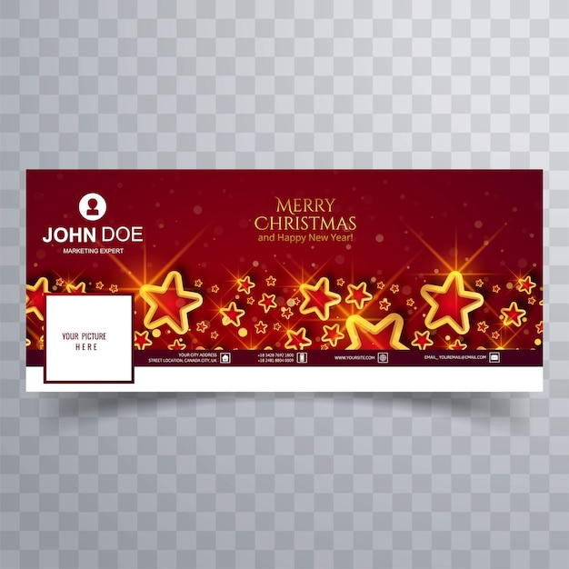 Elegant christmas stars  cover on red