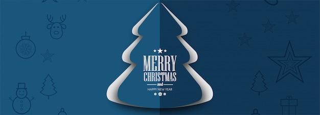 Elegant christmas tree banner template