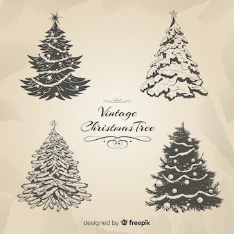 Elegant christmas tree collection with vintage style